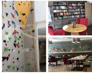 ART Hotel Kempten Kletterwand Bibliothek Restaurant